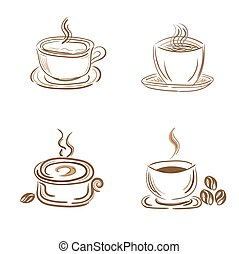 set of steamy coffee