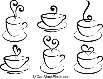 coffee and tea cups, vector - set of steamy coffee and tea...