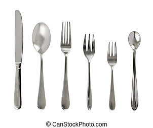 Set of steel metal table cutlery isolated over white...