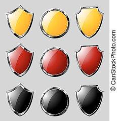 Set of steel shields