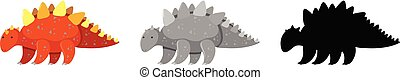 Set of stegosaurus dinosaur character illustration
