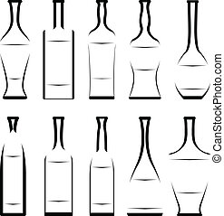 set of stencil of bottles