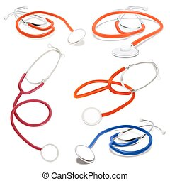 Set of Stethoscope. Vector illustration. Isolated on white
