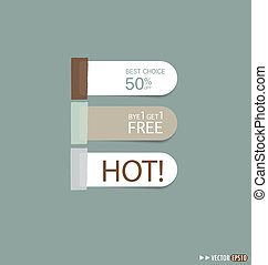 Set of sticker price tag, discount tags for price list. ...