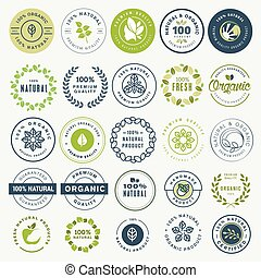 Set of stickers and badges for organic food and drink, and...