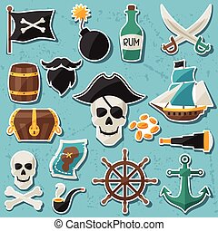 Set of stickers and objects on pirate theme.