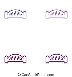 Set of stickers Australian bridge on white background