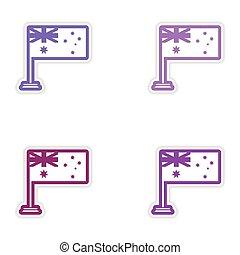 Set of stickers Australian flag on white background