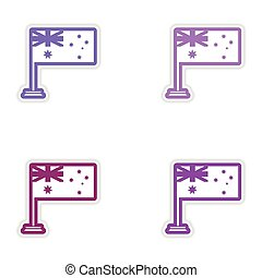 Set of stickers Australian flag on white background