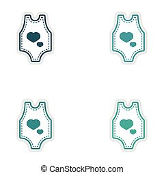 Set of stickers baby clothes on white background