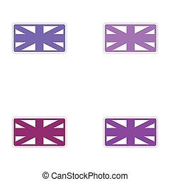 Set of stickers British flag on white background