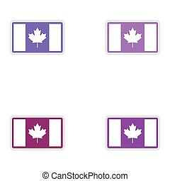 Set of stickers Canadian flag on white background