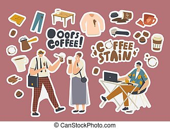 Set of Stickers Coffee Stains. Clumsy Characters, Cezve with Beverage, Shirt or Pants with Spots, Coffee Machine Filter