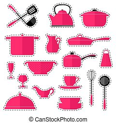 Set of stickers cookware isolated on white background. Kitchen utensils. Vector illustration in a flat style.