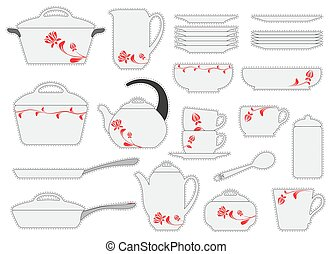 Set of stickers cookware isolated on white background. Vector illustration. Kitchen utensils.