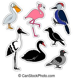 Set of stickers. Different birds isolated on white background.