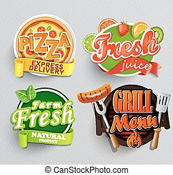 Set of stickers for food.