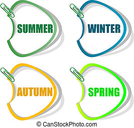 Set of stickers for seasonal collection - spring, summer, autumn, winter