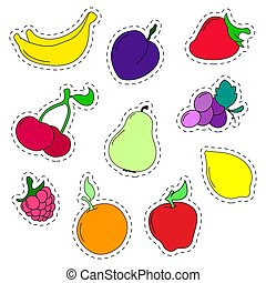 Set of stickers  fruits in a flat style. Line icons. Vector illustration.