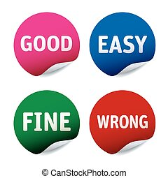 Set of stickers Good, East, Fine, Wrong