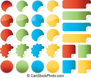 Set of stickers in red, green, blue