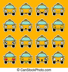 Set of stickers in the form of a cartoon taxi with different emotions. Funny Car Vector Design. Communication Chat Elements on the Transparent background.