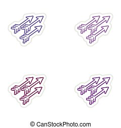 Set of stickers Indian arrows on white background