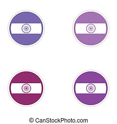 Set of stickers Indian flag on white background