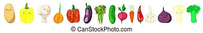 Set of stickers kawaii or patches with - vegetables - tomatoes, cucumbers, radishes, onions, pollock, eggplants, broccoli, celery, cauliflower, potatoes, beets, carrots on a white background
