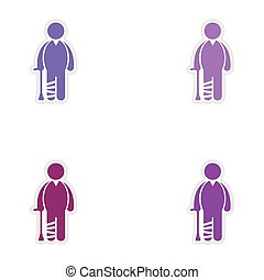 Set of stickers man with broken leg on white background