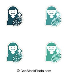 Set of stickers mother and son on white background