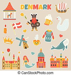 Set of stickers of danish famous places, symbols