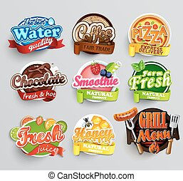 Set of stickers of food.