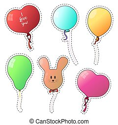 Set of stickers. Other balloons isolate on a white background. Vector illustration. EPS 10.