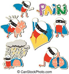 set of stickers pills-superheroes protect organs
