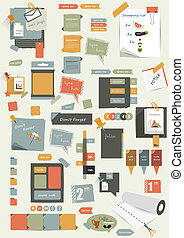 Set of stickers, reminders cards. Flat vector collection.