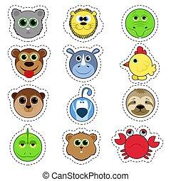 Set of stickers. Set of cute cartoon animals. Lion, crocodile, monkey, chicken, rhino, bird, koala, hamster, lizard, cancer.