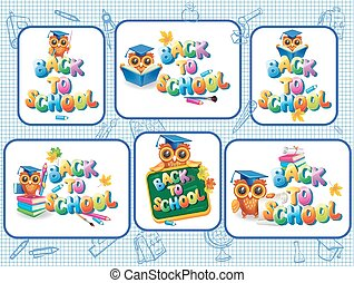 Set of stickers template for Back to school