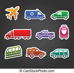 Set of stickers, transport color icons