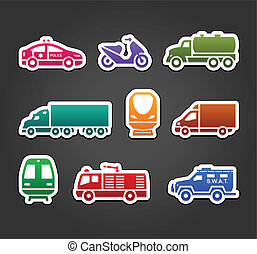 Set of stickers, transport color symbols