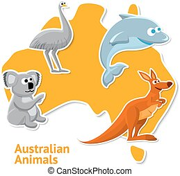 Set of stickers with australian animals and map as a background.