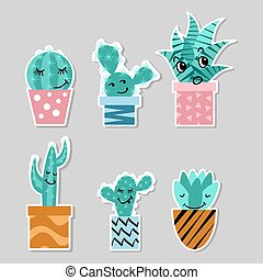 Set of stickers with cute cactuses