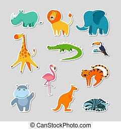 Set of stickers with cute cartoon exotic animals