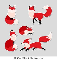Set of stickers with cute cartoon foxes. Funny woodland animals in different situations. Flat vector illustration.