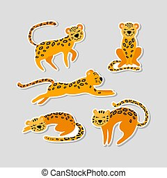 Set of stickers with cute cartoon leopards