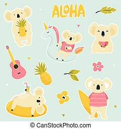 Set of stickers with cute koalas on vacations