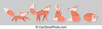Set of stickers with foxes in scandinavian style