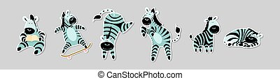 Set of stickers with funny zebras