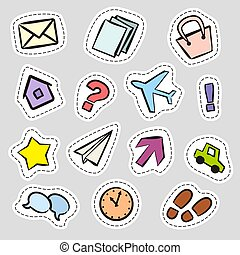 Set of stickers with hand drawn icons