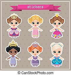 Set of stickers with princesses